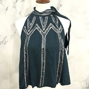 FREE PEOPLE Turquoise Silver Sequin Halter Top NWT